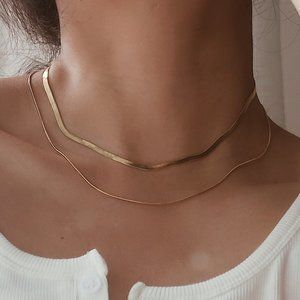 NEW 18K Gold Plated Layered Snake Chain Necklace